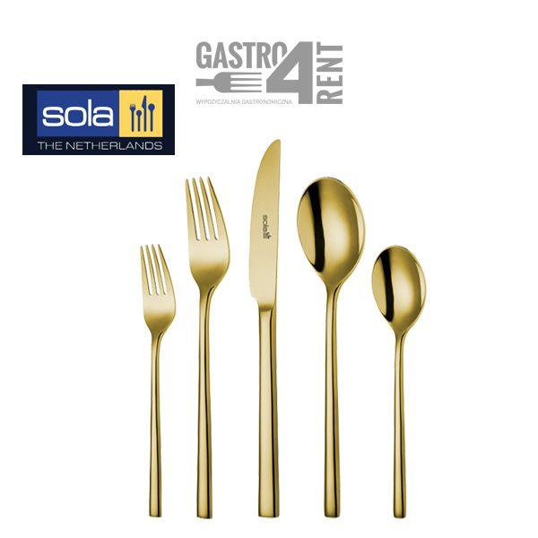 zlote sztućce wypozyczalnia 1 600x600 - Złote sztućce SOLA widelec / widelczyk / nóż / łyżka / łyżeczka