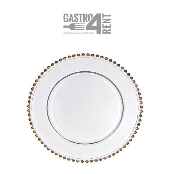 szklany pod talerz 600x600 - Przezroczysty szklany pod talerz  ze złotymi kulkami 32 cm