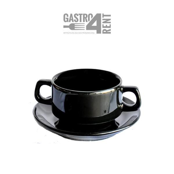 czarna bulionówka 600x600 - Bulionówka  czarna  ze spodkiem 350ml