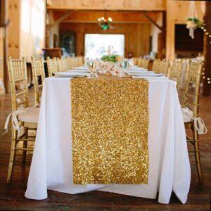 Złoty bieżnik cekinowy 275 cm x 30 cm