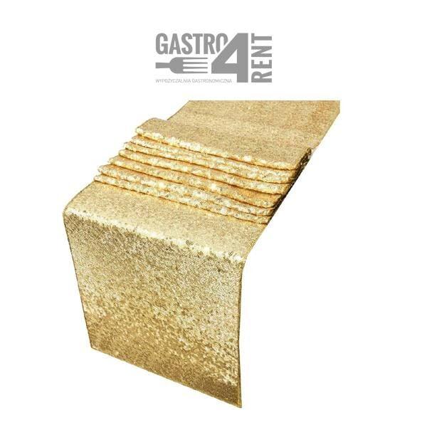 złoty bierznik na stół 600x600 - Złoty bieżnik cekinowy 275 cm x 30 cm