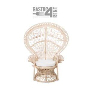 Fotel  rattanowy Boho Pawi +poduszka