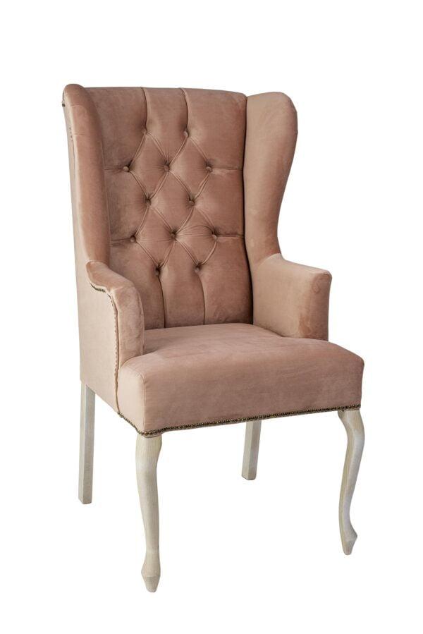 roz krzeslo 600x899 - Ławka Glamour pikowana + fotele