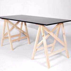 Stół na koziołkach  drewnianych  150cm x 75cm  biały/czarny/drewno
