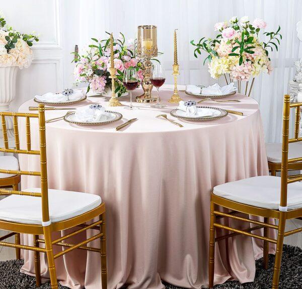 obrus okragly rozowy wesele