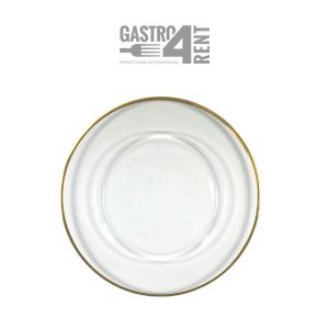 Przezroczysty szklany pod talerz  ze złotą obwódką 32 cm