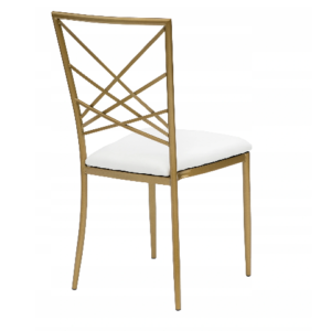 Krzesło weselne Chameleon złote z białą  poduszką