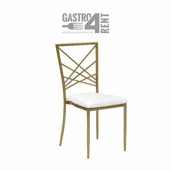 krzeslo zlote chameleon - Krzesło weselne Chameleon złote z białą  poduszką