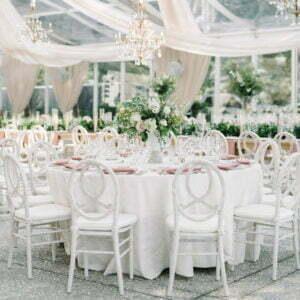Krzesło weselne Phoenix Białe +poduszka Plener